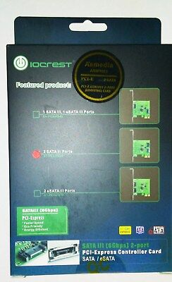 IOCREST 2 PORT SATA III 2.0 PCI EXPRESS CONTROLLER CARD, SPEED 6Gbps SY-PEX40039