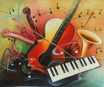 Canvas Modern Hand painted beautiful Abstract Music Art Oil Paintings Wall Decor