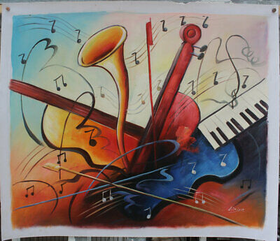 Canvas Hand painted beautiful Abstract Music Art Oil Paintings Modern Wall Decor