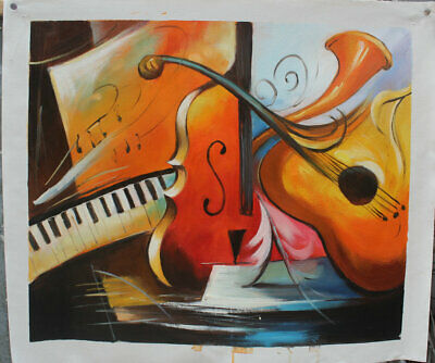 Canvas Handpainted Color Abstract Music Art Oil Paintings Modern Wall Home Decor