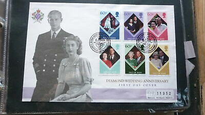 Isle Of Man Stamp Issue Fdc, 2007 Queen Elizabeth Diamond Wedding Set Of 6