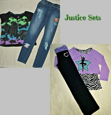 Justice Exercise/Dance Set Top/Leggings sz 12/14 - Justice Top sz 16 with Jeans