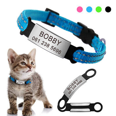 Personalized Breakaway Cat Collar Reflective Slide On Quick Release for Kitten