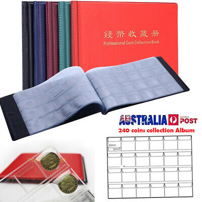 240 Coin Album Penny Collecting Holder Pockets Storage Folder Book Slots Sleeves