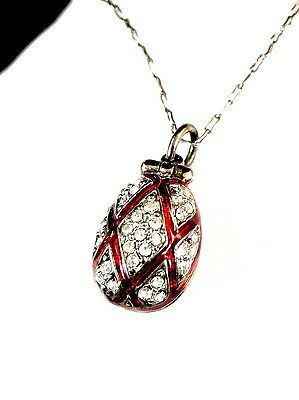 Lovely 980 Sterling Chain Necklace Rhinestone Ruby Enamel Egg Chicken Pendant