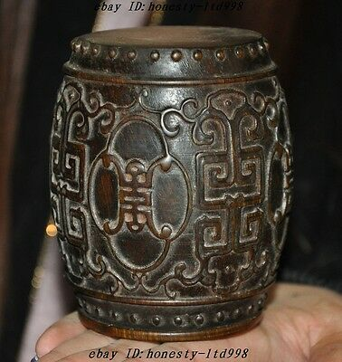 Collect China Natural old Ox horn hand-carved lucky statue Drum Bottle Box Boxes