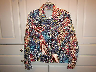 Chicos Jacket Womens Size 0 Multi-color Red Cream Blue Button Down Pockets