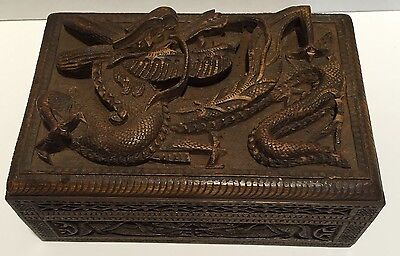 Antique Chinese Carved Hard Wood Trinket Box with 3D Relief Carved Dragon 1800's
