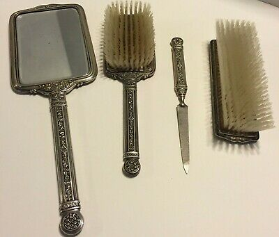 4 PC Sterling Silver Vanity Set Antique Mirror Brushes Nail File Ornate Monogram
