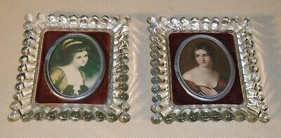 Antique Victorian Glass Picture FRAME Lady Hamilton Pauline Bonaparte Print 327R