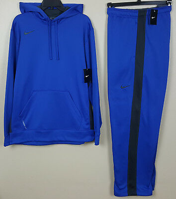 Nike Therma-Fit Sweatsuit Hoodie + Pants Royal Blue Grey New Rare (Size Large)