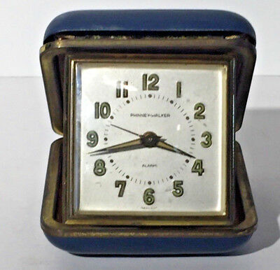 Vintage Travel Alarm Clock Phinney Walker Made by SEMCA Case Made in Germany