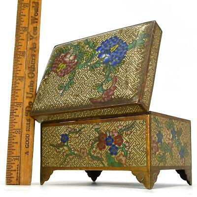 Antique CLOISONNE FOOTED HINGED BOX Chinese/Japanese? BRASS/BRONZE 3x5x3 Floral