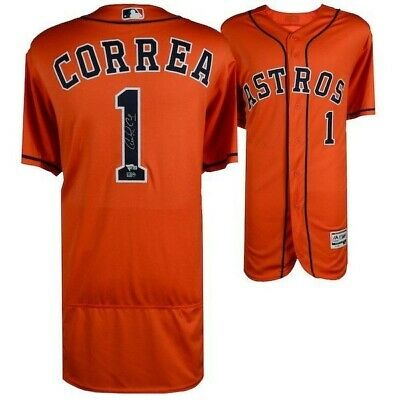 93ec01c0890 Carlos Correa 2017 MLB WS Champs Signed Majestic WS Orange Authentic Jersey  Fana