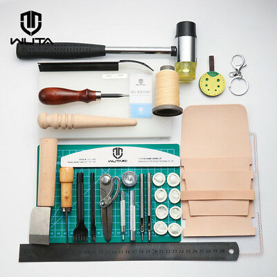 WUTA DIY Leather Craft Tools Kit Stitching Carving Sewing Punch Kit Cutting Tool