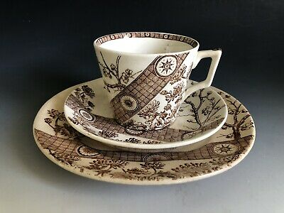 3pc Antique Aesthetic Brown Transferware Tea Set Rangoon Emery Burslem England