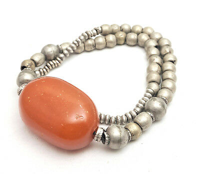 Antique Ethiopian silver heish beads in Phenolic resin Amber Necklace