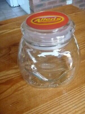 VINTAGE COLLECTABLE ALLENS LOLLY GLASS JAR ALLEN'S MAKES SMILES ... look