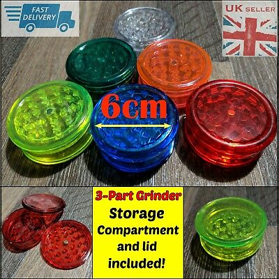 Magnetic 60mm 3 Part No1 Grinder Plastic Dry Herb Shark Teeth Tobacco Storage UK