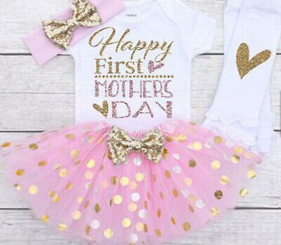 Newborn Baby Girl Mother's Day Print Top Romper Tutu Skirt Outfit Set Clothes AU