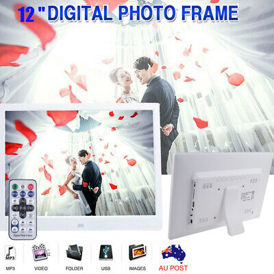 2020 12'' LED Digital Photo Frame HD Picture Alarm Clock MP4 Movie Player Gift
