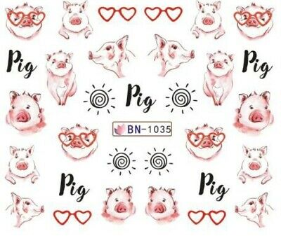Nail Art Stickers Water Decals Transfers Pink Hearts Pigs (BN1035)