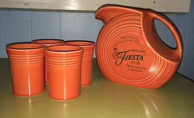 New In Box  Fiesta Disc Pitcher W/ 4 Tumbler 60th Anniversary Persimmon Laughlin