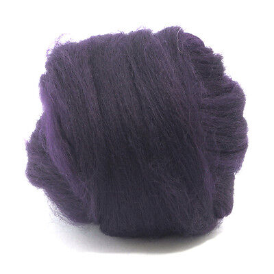 100g DYED MERINO WOOL TOP AUBERGINE PURPLE DREADS 64's SPINNING FELTING ROVING