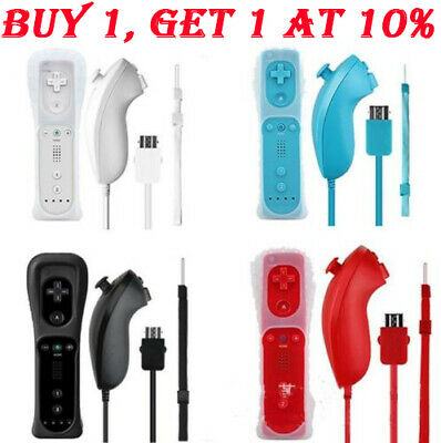 Remote and Nunchuck Controller WITH SILICONE CASE For NINTENDO WII 5 Colors UK ☆