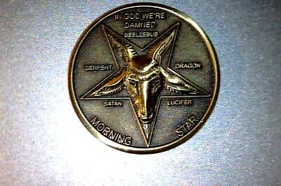 """Lucifer Morning Star - Fast delivery in USA, 1 1/4"""" Solid Brass 3D  Coin 31.75MM"""