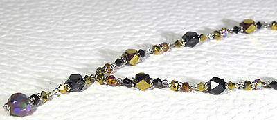 """Black, dark and light Topaz crystals, 20.5"""" beaded silver tone Necklace"""