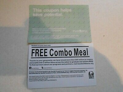 Lot of 10 Grab Bag Combo Meal Cards/No Expiration