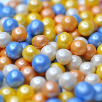 Spring Pearls Cake Sprinkles Mix Blue Orange White 8mm Vegan Gluten Free Halal