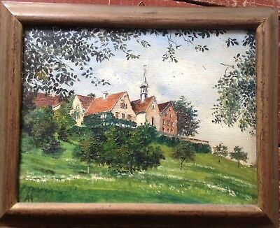 A.Häusler Oil Painting Castle Band Old Town on a Hill ° Antique Signed