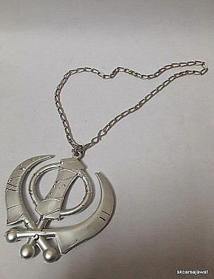 CAR HANGING KHANDA GOLDEN LOOK PENDANT SIKH KHANDA PUNK WITH CHAIN FOR CAR//HOME