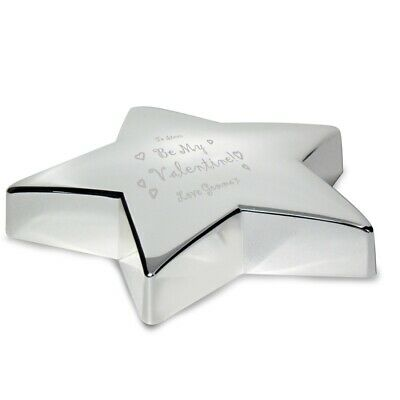 Be My Valentine Engraved Star Paperweight Nickel Plated
