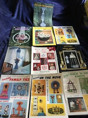 10 Vintage Macrame Books Christmas Purses Wall Hangings Plant Hangers Lot 10
