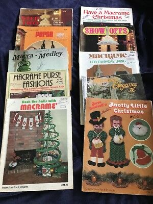 10 Vintage Macrame Books Christmas Purses Wall Hangings Plant Hangers Lot 1