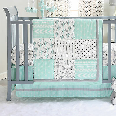 Mint Green Southwest Cactus Patchwork 3 Pc Crib Bedding Set by The Peanut Shell