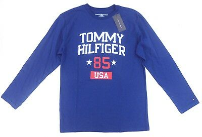 7790bcfd Tommy Hilfiger boys youth long sleeve graphic shirt sz L 16-18 blue NEW!