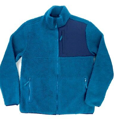 Large, Dark Teal Aeropostale Mens Sherpa Fleece Zip Jacket