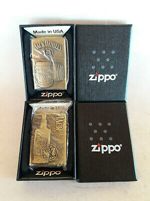 Zippo Brass Lighters Jack Daniels Old No 7 Lot Of 2 Pcs New Boxed Collectable Ad