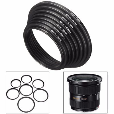 7pcs Step Up Down Ring For DSLR Camera Universal Adapter Aluminum 49mm to 77mm