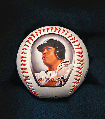 Alex Rodriguez Baseball with Art Print of Hand Painted Baseball