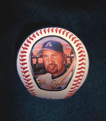 Mark Grace Baseball with Art Print of Hand Painted Baseball