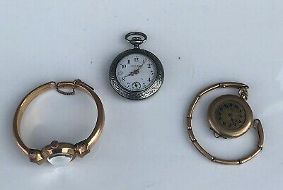 Lot Antique Vintage Silver Lady Tess Ladies Pocket Watch 2 Gold Filled Watches