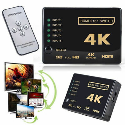 3/5 Port 1080P HDMI Switch Selector Switcher Splitter Hub+Remote For PS3 HDTV US