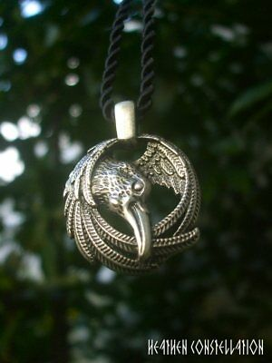 Norse Raven Crow Pendant Necklace + gift Box  - Viking Thor hammer, Odin