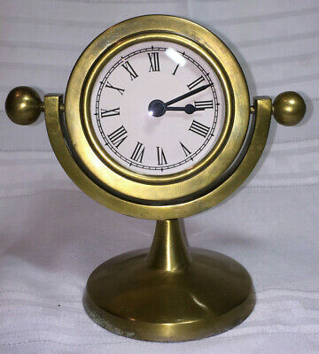 Brass table clock swival stand made in India vintage nautical