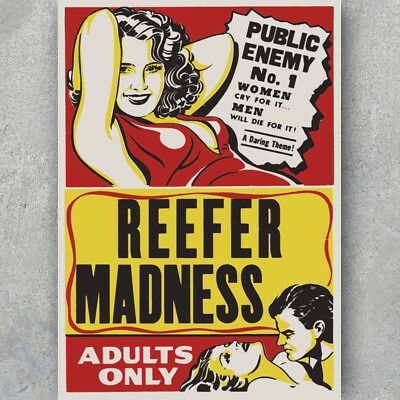 A3 A6 Vintage POSTER - REEFER MADNESS - *VECTOR* Anti Weed Marijuana - HQ Print